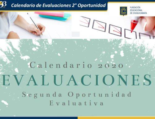 Calendario de Evaluaciones 2° Oportunidad