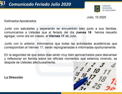 Comunicado Feriado Julio 2020