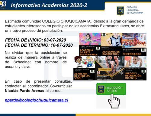 Comunicado Academias 2020-2