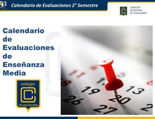 Calendario de Evaluaciones 2° Semestre – Nivel Medio