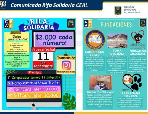 Comunicado Rifa Solidaria CEAL