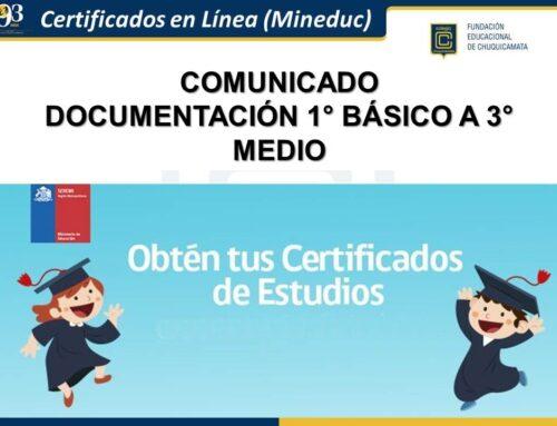Comunicado Documentación Nivel 1° Básico a 3° Medio
