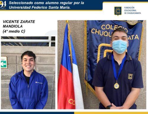 Seleccionado como alumno regular por la Universidad Federico Santa María.